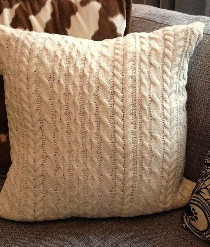 s 15 reasons not to trash your ugly worn out sweaters, crafts, repurposing upcycling, Give an old pillow a cozy upgrade