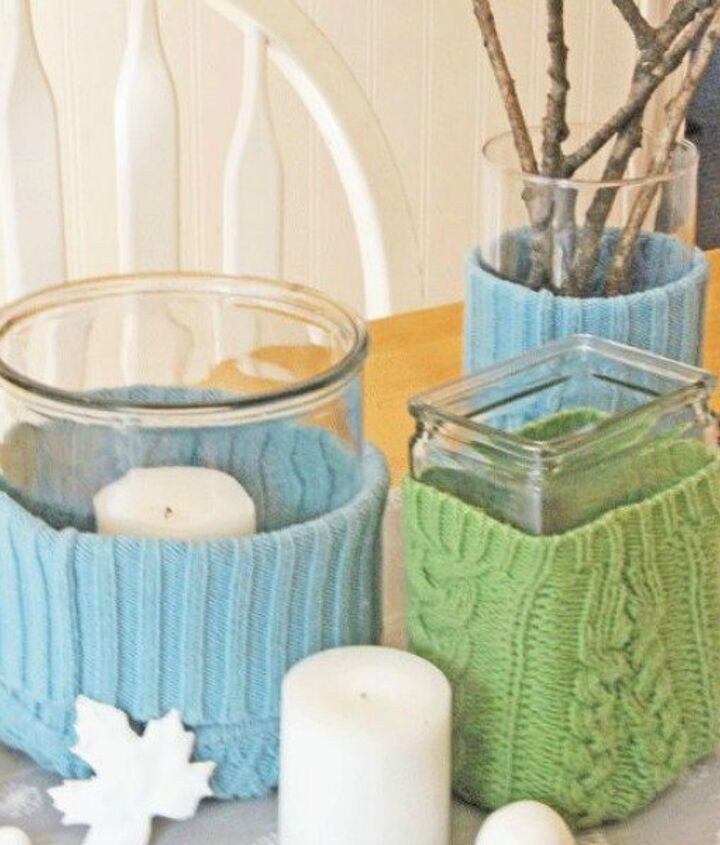 s 15 reasons not to trash your ugly worn out sweaters, crafts, repurposing upcycling, Wrap vases snugly for a comfy centerpiece