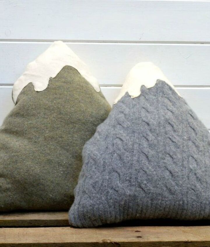 s 15 reasons not to trash your ugly worn out sweaters, crafts, repurposing upcycling, Make a plush mountain range for your couch