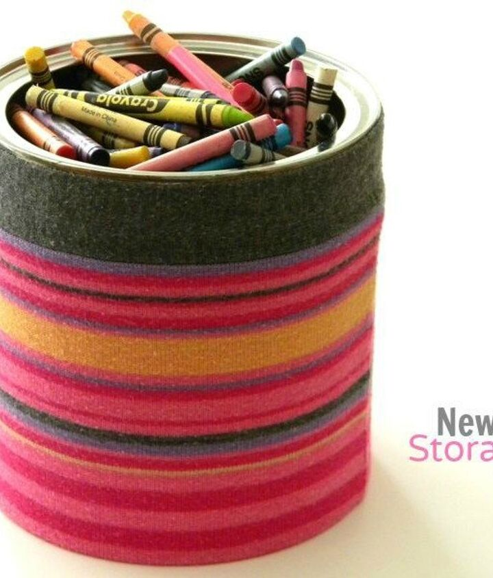 s 15 reasons not to trash your ugly worn out sweaters, crafts, repurposing upcycling, Cover a can for cute supply storage