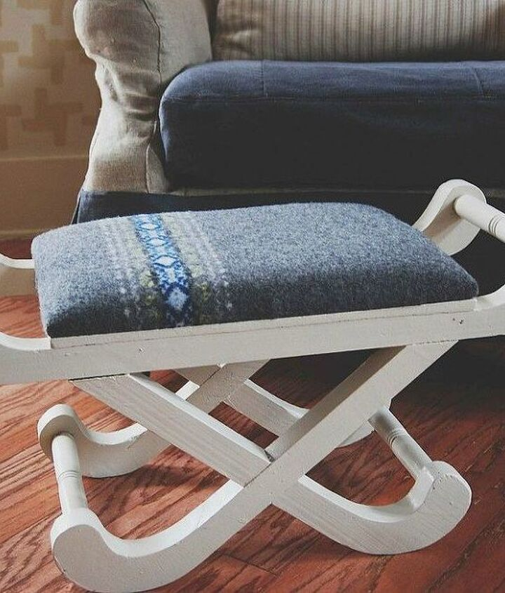 s 15 reasons not to trash your ugly worn out sweaters, crafts, repurposing upcycling, Use a piece of sweater to cover an old stool
