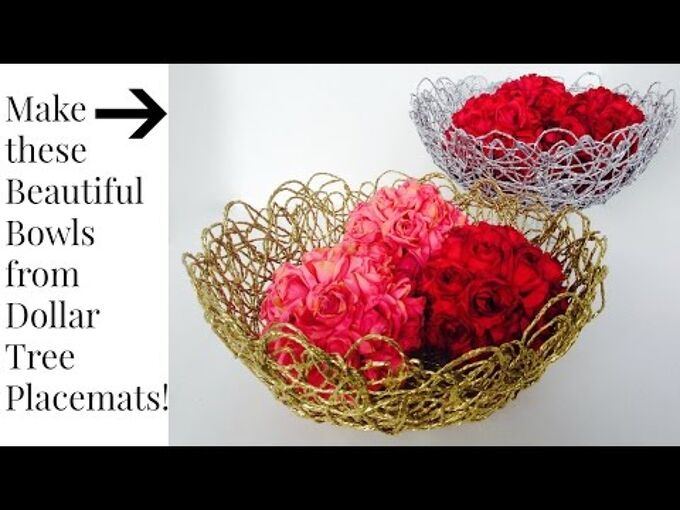 make beautiful basket bowls from 1 placemats at dollar tree, crafts, diy, how to