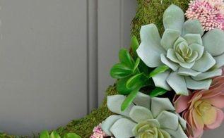 succulent moss spring wreath, crafts, flowers, gardening, succulents, wreaths
