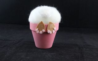 easter bunny craft in a flower pot, crafts, gardening