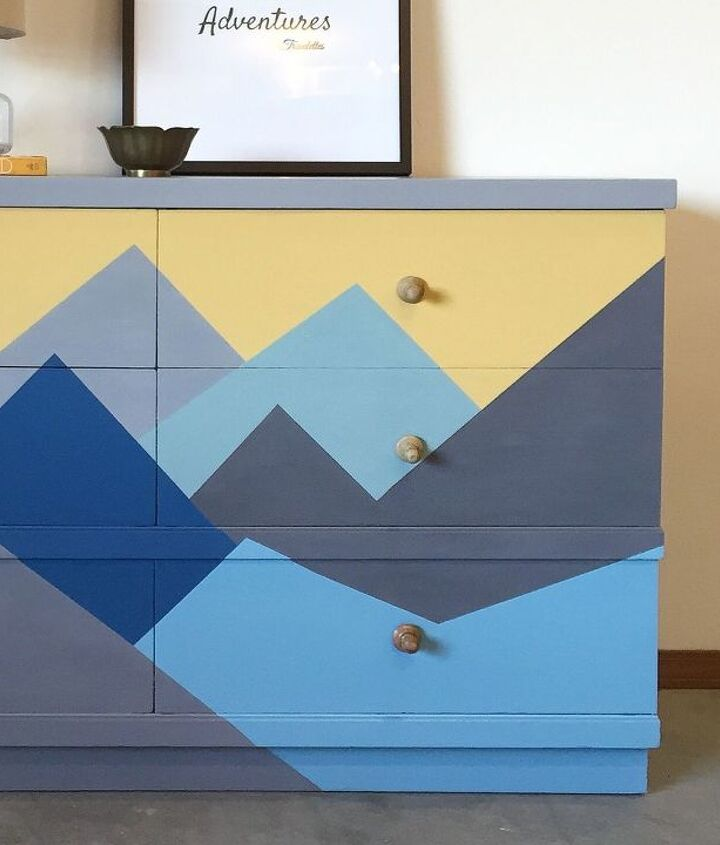 before and after a geometric mountain makeover, painted furniture