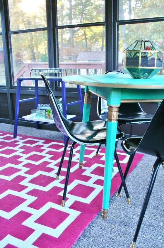 s 13 expensive looking outdoor rug ideas that cost less than 20, flooring, outdoor living, reupholster, Make an intricate graphic with painters tape