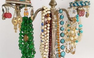 vintage silver candelabra jewelry tree, organizing, repurposing upcycling