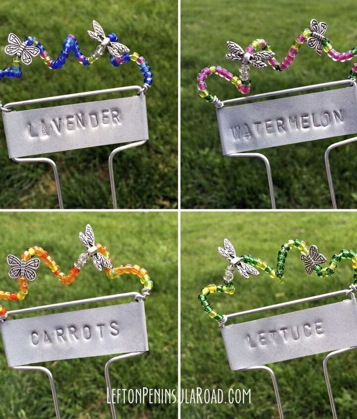 stamped and beaded garden markers, crafts, gardening, outdoor living