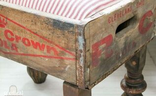 vintage soda crate becomes farmhouse foot stool, diy, repurposing upcycling, rustic furniture, woodworking projects