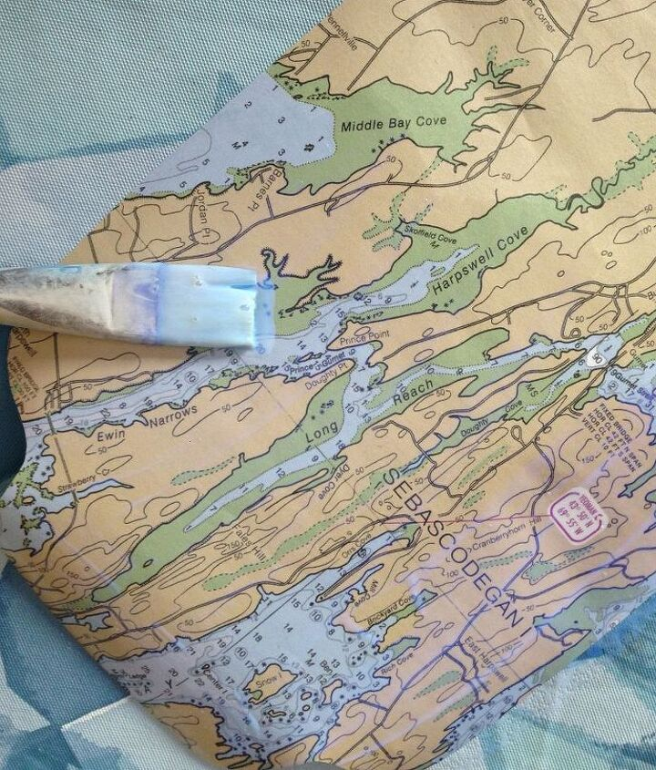 nautical trunk makeover mapping it out, decoupage, painted furniture