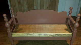 , A single bed headboard and footboard with a 3 thick oak seat It won t blow away in high winds if you set it on your porch