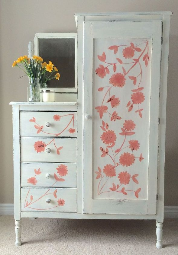 Hand painting flowers on furniture hometalk for Hand painted furniture
