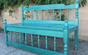 upcycled antique bed frame bench, diy, outdoor furniture, painted furniture, repurposing upcycling, rustic furniture