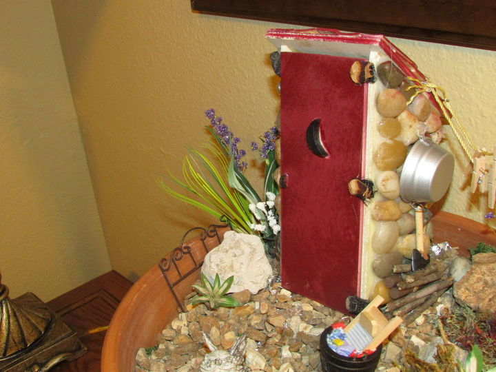 fairy garden outhouse, crafts, gardening