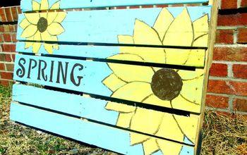 spring pallet sign, crafts, pallet, seasonal holiday decor