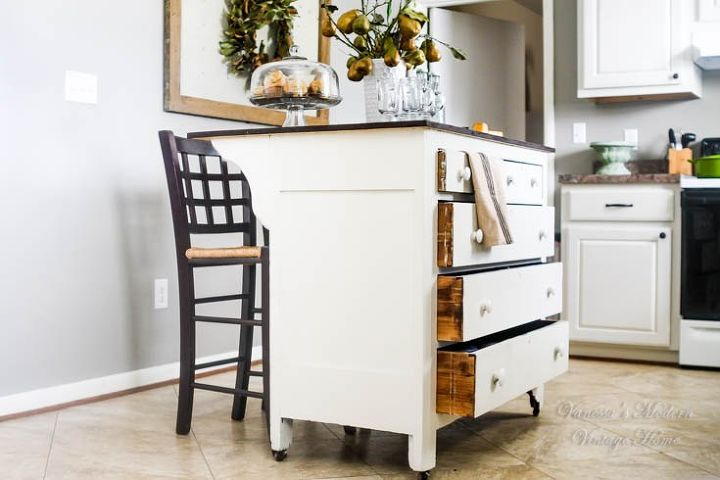 need more kitchen storage turn a dresser into an island, kitchen design, kitchen island, painted furniture, repurposing upcycling