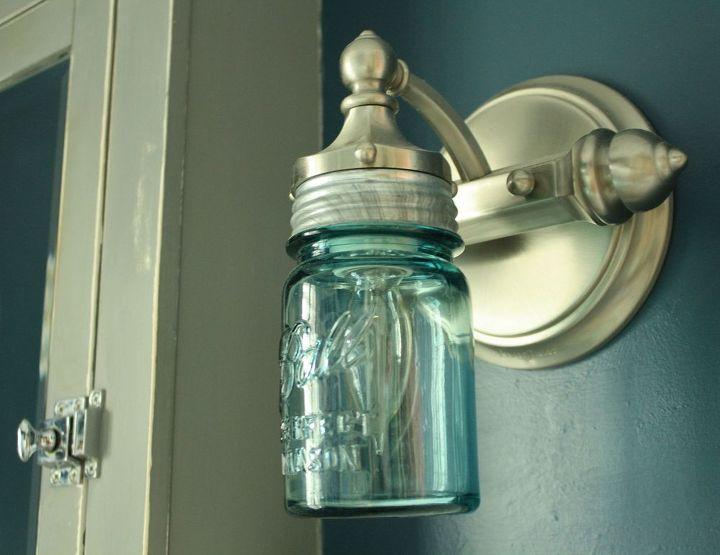 diy ball jar sconce light, bathroom ideas, lighting, mason jars, repurposing upcycling, wall decor