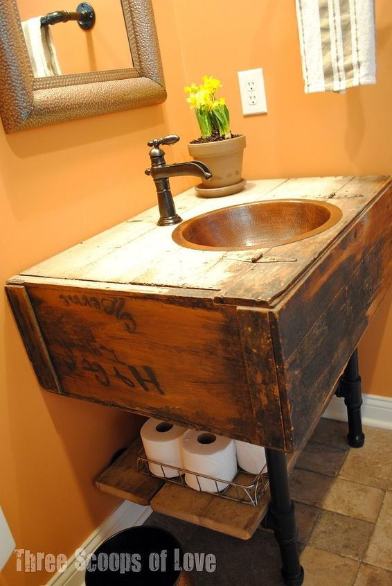 s 11 low cost ways to replace or redo a hideous bathroom vanity, bathroom ideas, painted furniture, plumbing, Switch it out with a repurposed wall cabinet