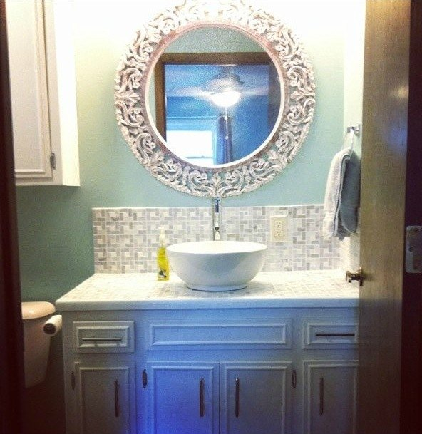 s 11 low cost ways to replace or redo a hideous bathroom vanity, bathroom ideas, painted furniture, plumbing, Cover the ugly top in tiled mosaic