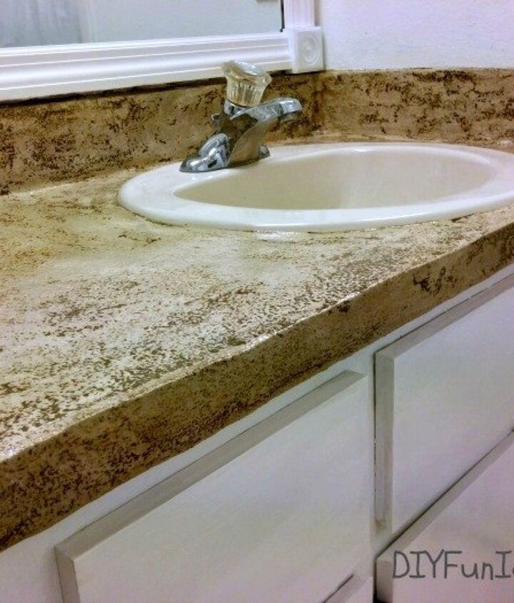 s 11 low cost ways to replace or redo a hideous bathroom vanity, bathroom ideas, painted furniture, plumbing, Give the top a patchy concrete look