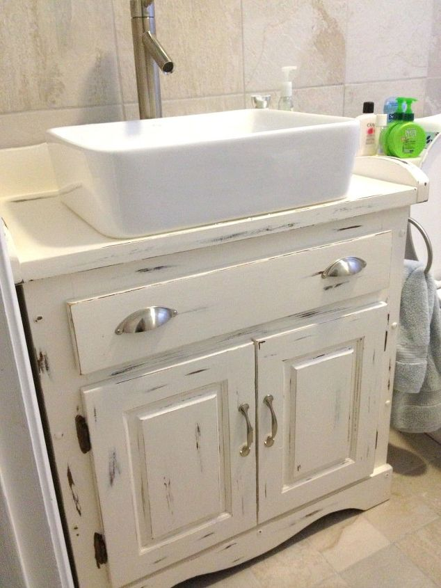 11 low cost ways to replace or redo a hideous bathroom for Bathroom vanity display for sale