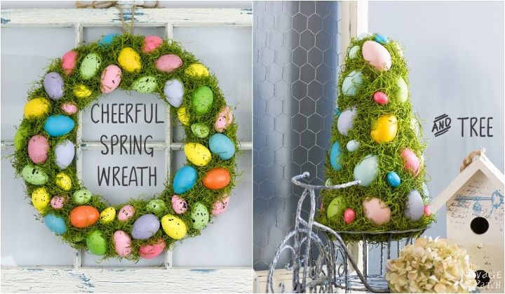 cheerful spring wreath and tree, crafts, easter decorations, seasonal holiday decor