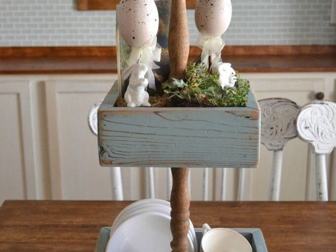 diy three tiered stand diymyspring, diy, easter decorations, repurposing upcycling, seasonal holiday decor, woodworking projects