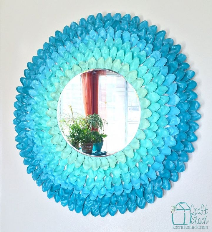 spring ombre flower mirror, crafts, repurposing upcycling, wall decor