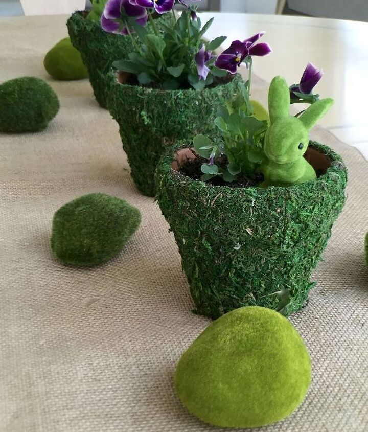 spring moss covered pots, container gardening, crafts, gardening