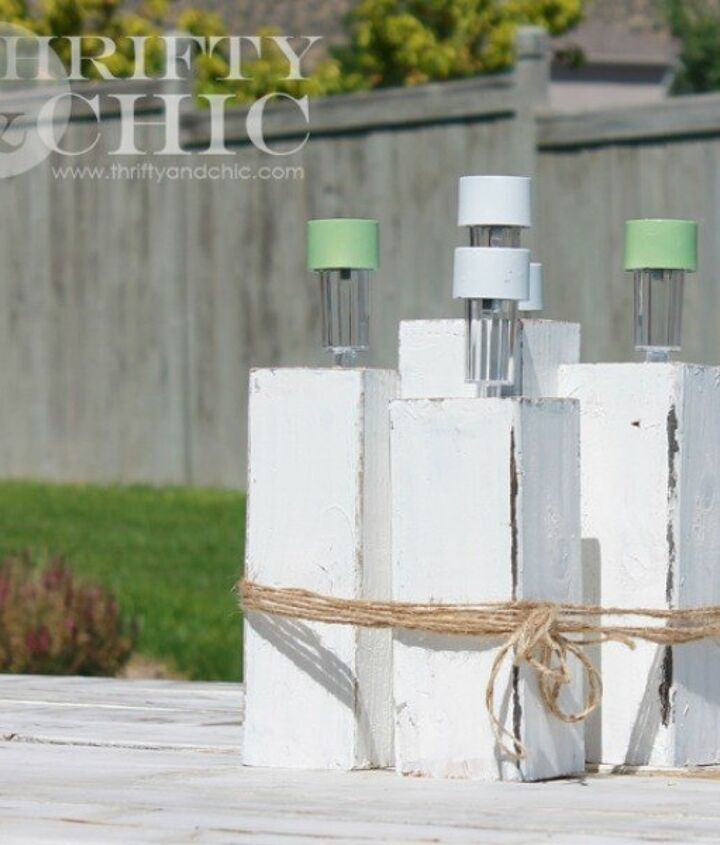 s 13 spectacular things to make for your yard using 1 solar lights, lighting, outdoor living, repurposing upcycling, A sweet picnic table centerpiece