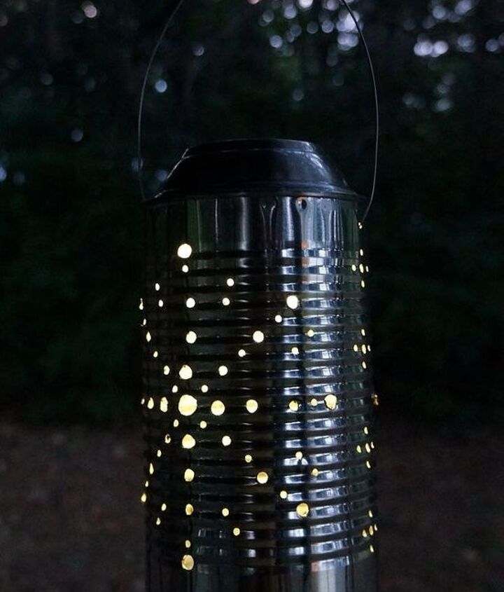 s 13 spectacular things to make for your yard using 1 solar lights, lighting, outdoor living, repurposing upcycling, A few tin can lanterns