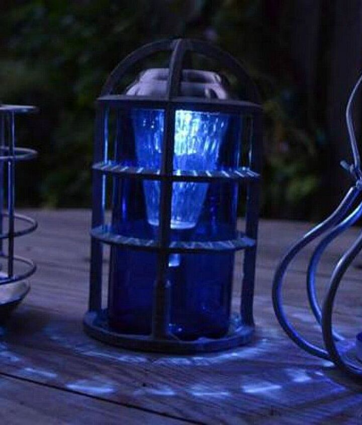 s 13 spectacular things to make for your yard using 1 solar lights, lighting, outdoor living, repurposing upcycling, An upcycled glass garden lantern