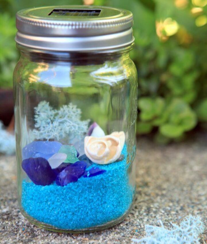 s 13 spectacular things to make for your yard using 1 solar lights, lighting, outdoor living, repurposing upcycling, Some beachy glowing keepsakes