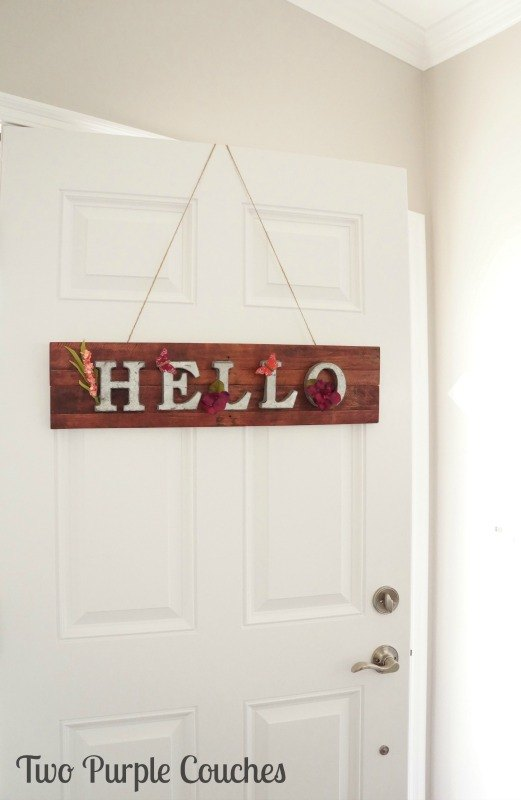 hello springtime metal and pallet wood sign, crafts, pallet, seasonal holiday decor