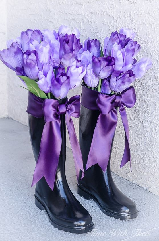 how i upcycled ugly rain boots into gorgeous spring decorated vases, container gardening, gardening, repurposing upcycling