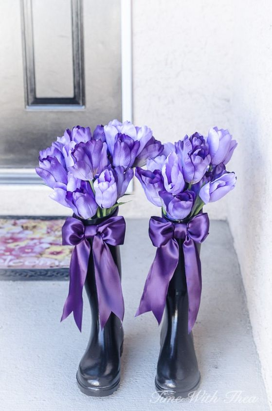 how i upcycled ugly rain boots into gorgeous spring decorated vases,  container gardening, gardening