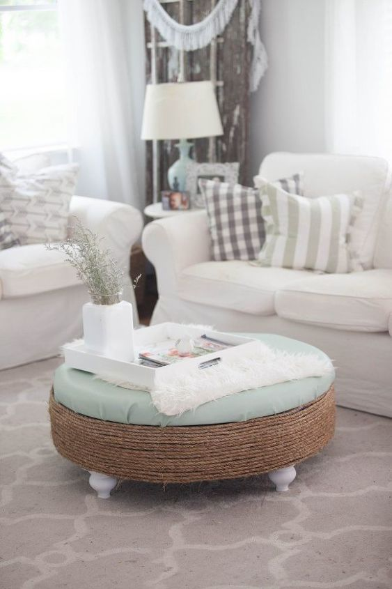 easy ottoman makeover, painted furniture, reupholster
