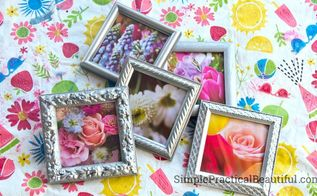 small frames with flower photos, repurposing upcycling, wall decor