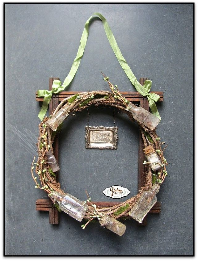 rustic spring wreath with vintage bottles, crafts, rustic furniture, seasonal holiday decor, wall decor, wreaths