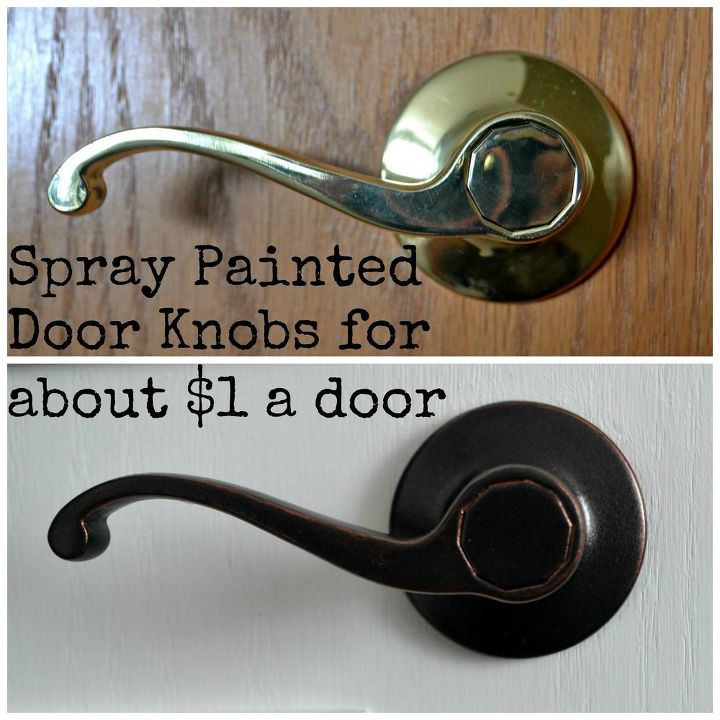diy spray painted doorknobs ugly brass to beautiful oil rubbed bronze, doors, painting
