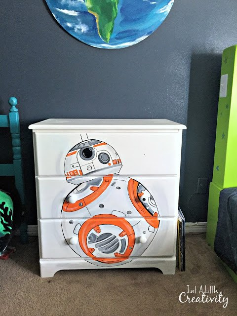 star wars bb8 hand painted dresser, painted furniture