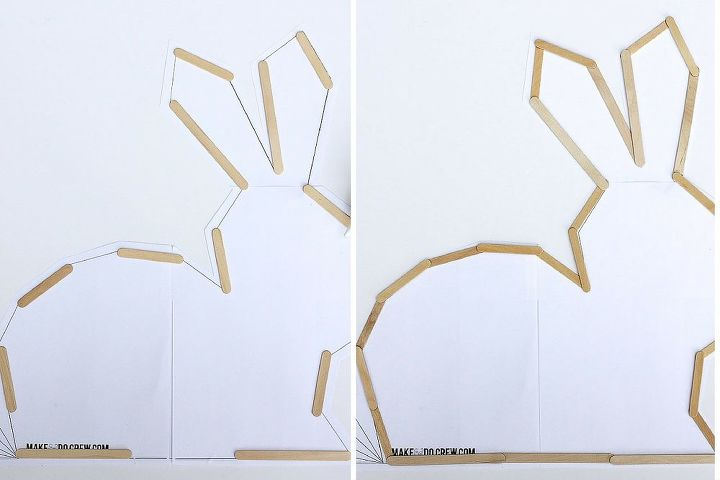 modern bunny decor made from popsicle sticks easter or nursery idea, crafts, easter decorations, seasonal holiday decor