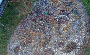paislies inside of a paisley pebble mosaic, concrete masonry, landscape