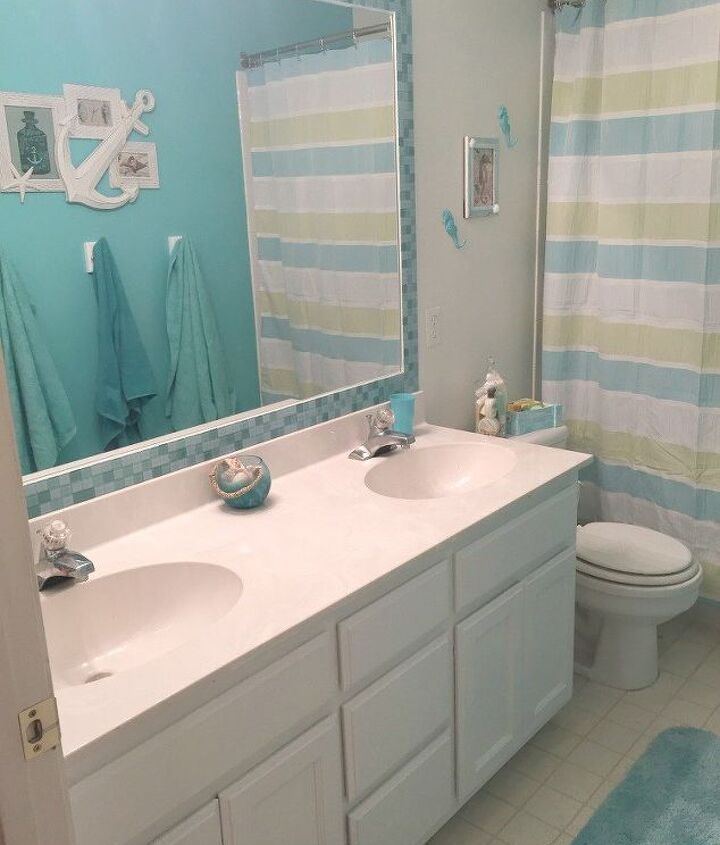 s 15 reasons to drop everything and buy inexpensive tile, tiling, Tile along the edge of giant bathroom mirrors