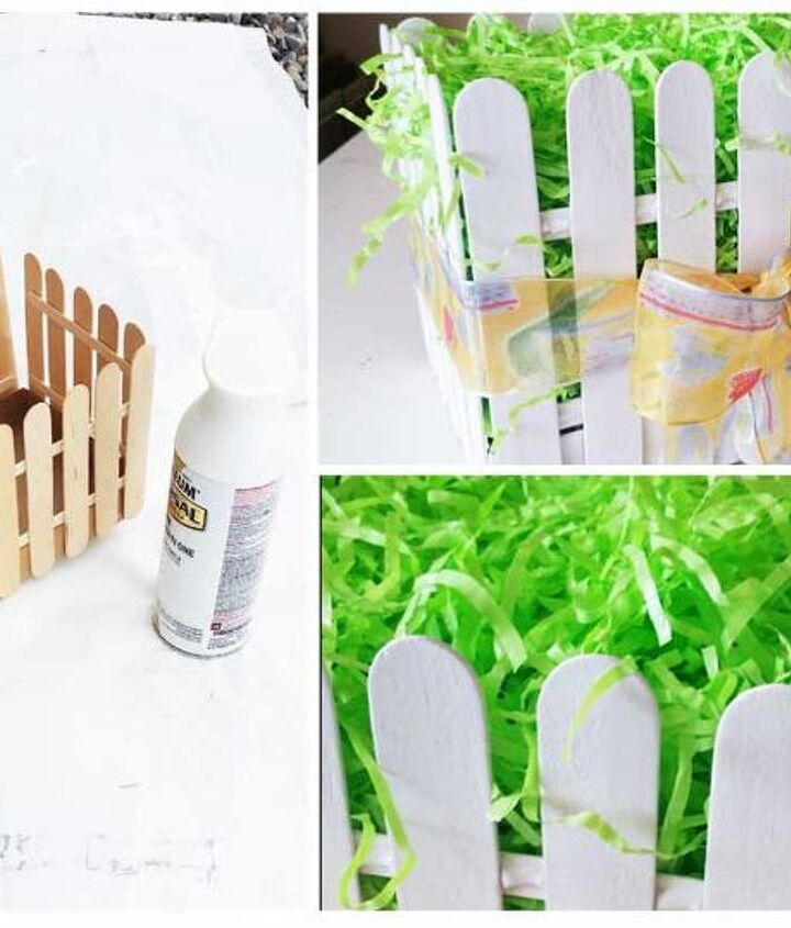 picket fence easter basket, crafts, easter decorations, seasonal holiday decor