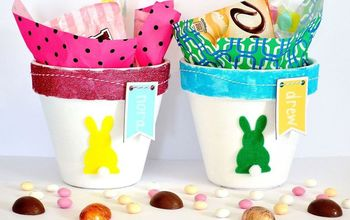 clay pot easter baskets, crafts, decoupage, easter decorations, seasonal holiday decor