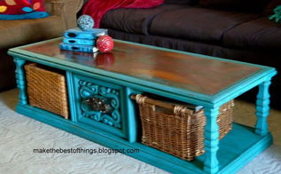 diy turquoise chalk paint coffee table, chalk paint, painted furniture