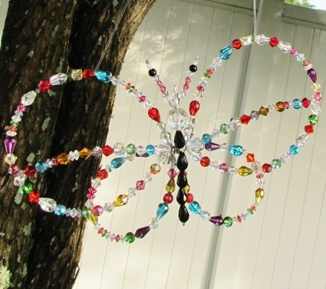 s 11 gorgeous suncatchers to brighten your windows, crafts, repurposing upcycling, window treatments, Bead a few crystal butterflies