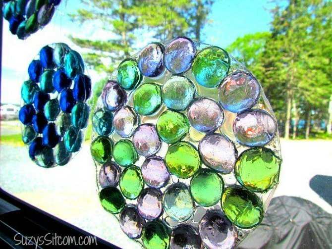 s 11 gorgeous suncatchers to brighten your windows, crafts, repurposing upcycling, window treatments, Make glossy mosaics from glass gems