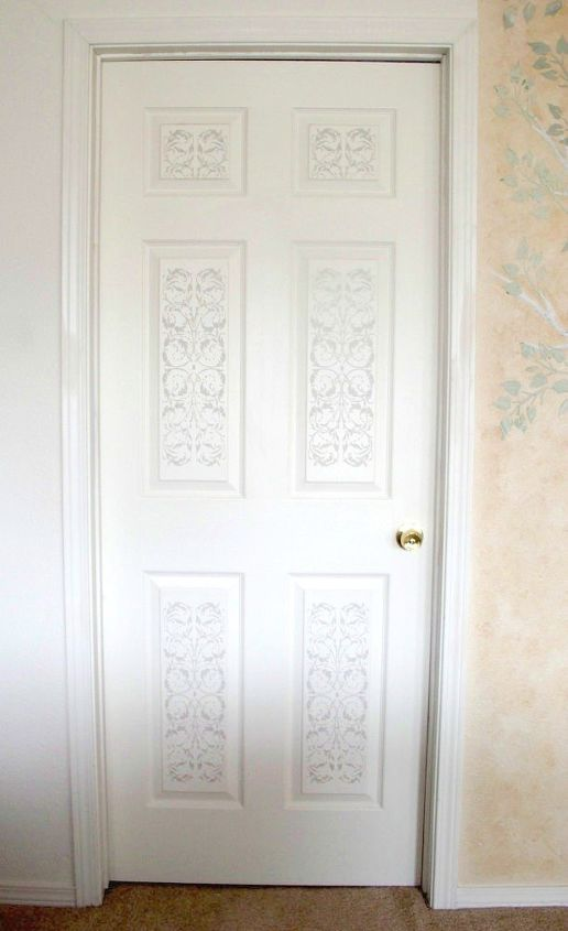 s 12 clever tricks to turn builder grade doors into custom made beauties, doors, Add raised details with joint compound